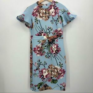INA sz m NWT Boutique midi ruffle baby blue flower